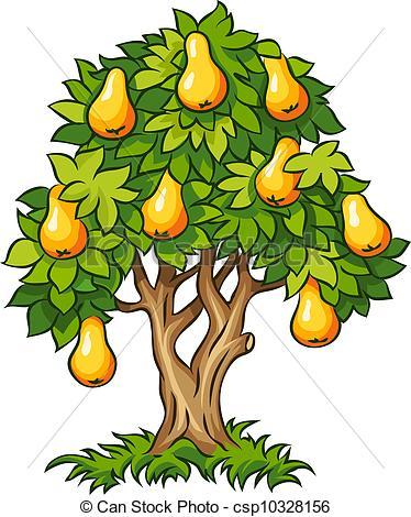Clipart Vector van peer, boompje, rijp, Vruchten.