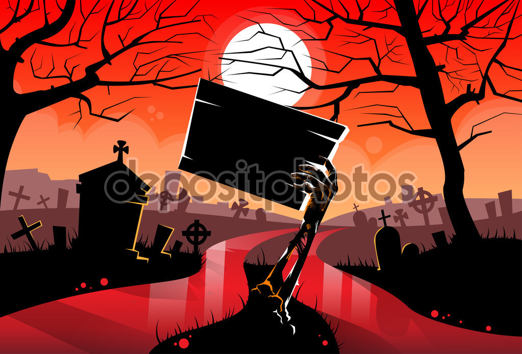 Zombie Dead Hand Holding Sign Board — Stock Vector © mast3r #94067382.