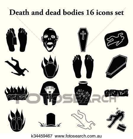 Death and dead bodies 25 simple icons set Clip Art.
