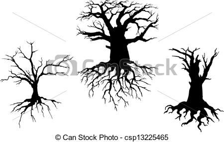Clip Art Vector of Dead trees for ecology design.