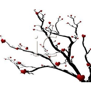 Royalty Free Clip Art Image: Red Hearts on a Dead Tree Branch.