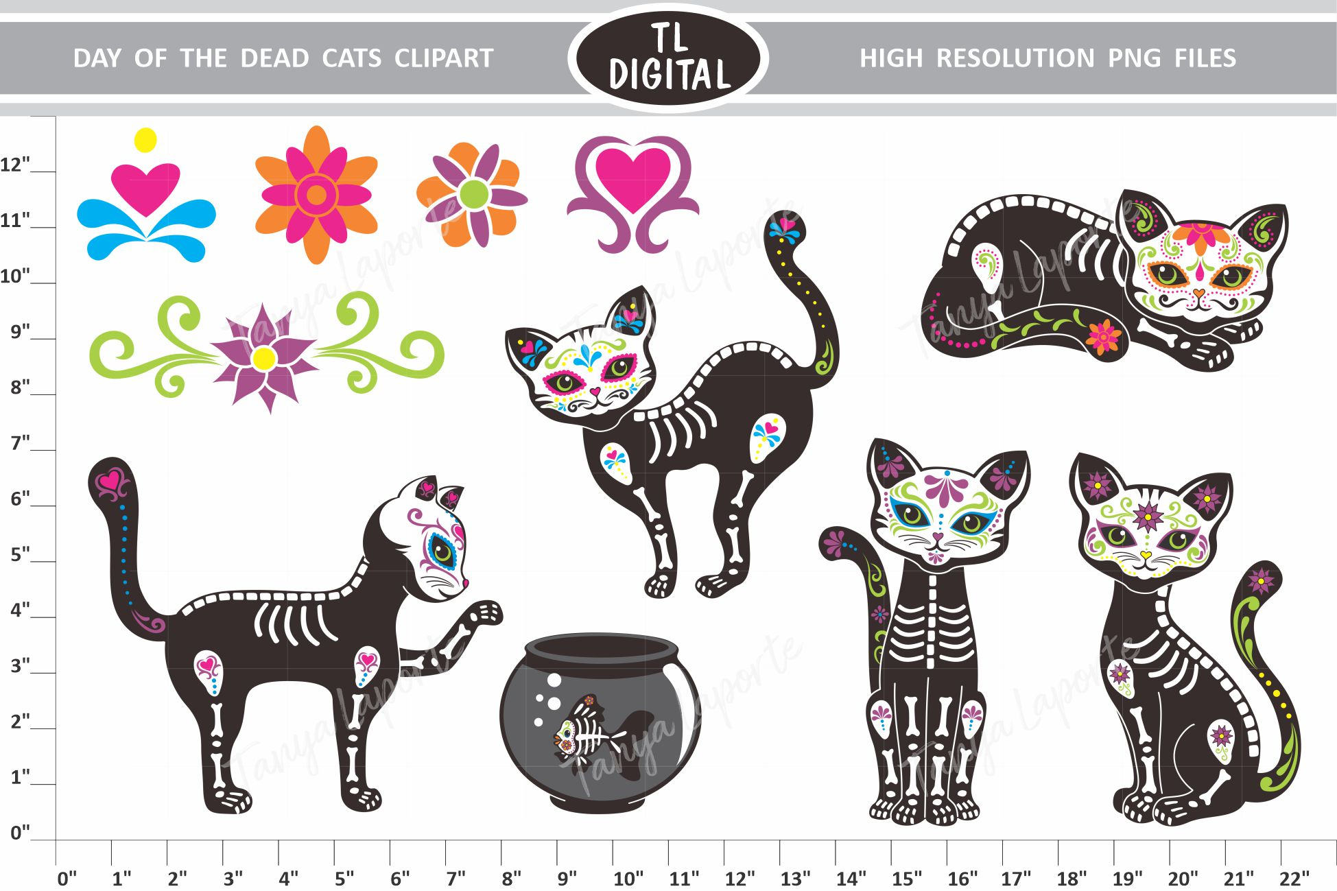 Day of the Dead cats Clipart Set.