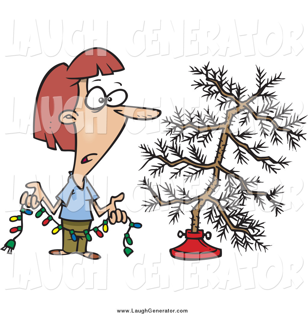 Humorous Clip Art of a Depressed Woman Holding Colorful Christmas.