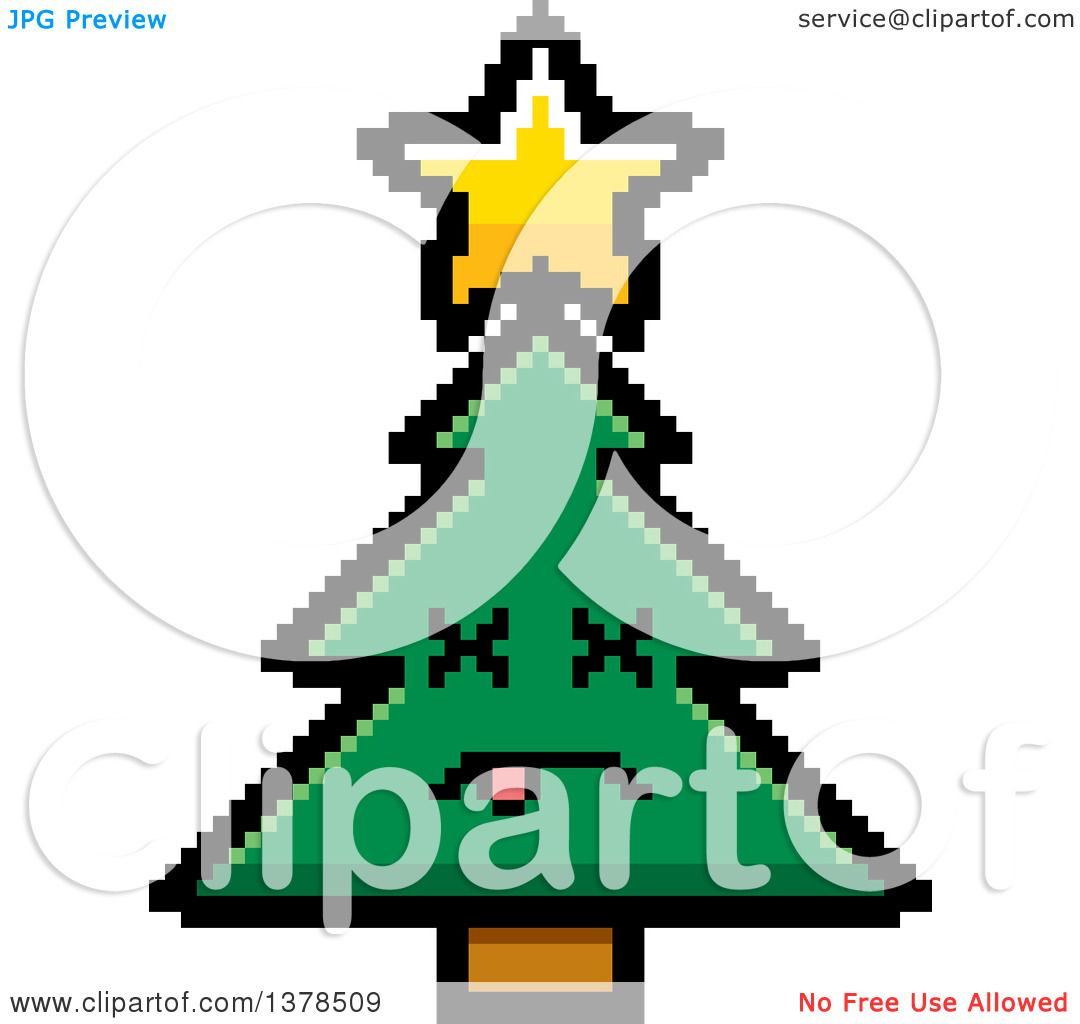 Clipart of a Dead Christmas Tree Character in 8 Bit Style.