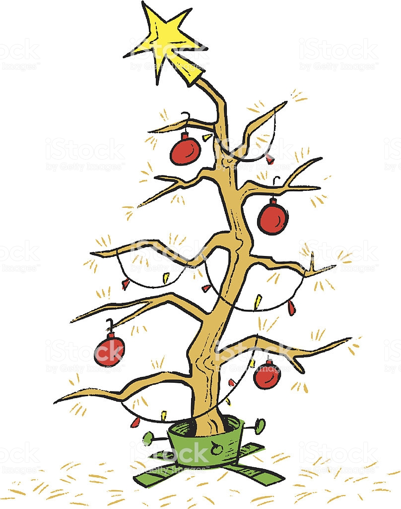 Dead Christmas Tree Stock Illustration.