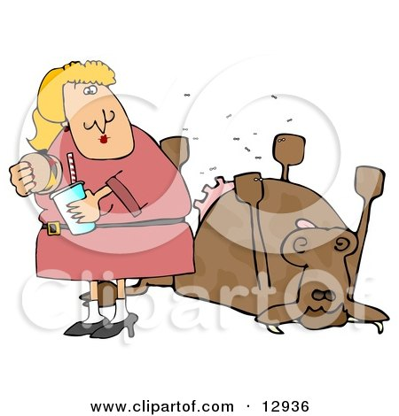 Woman Eating a Hamburger by a Dead Cow Clipart Illustration by djart.