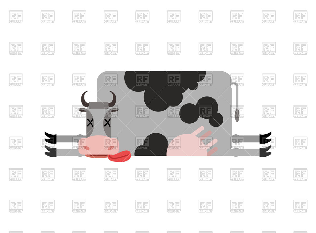 Dead cow Stock Vector Image.