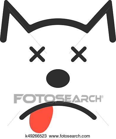 Simple dead dog icon Clipart.
