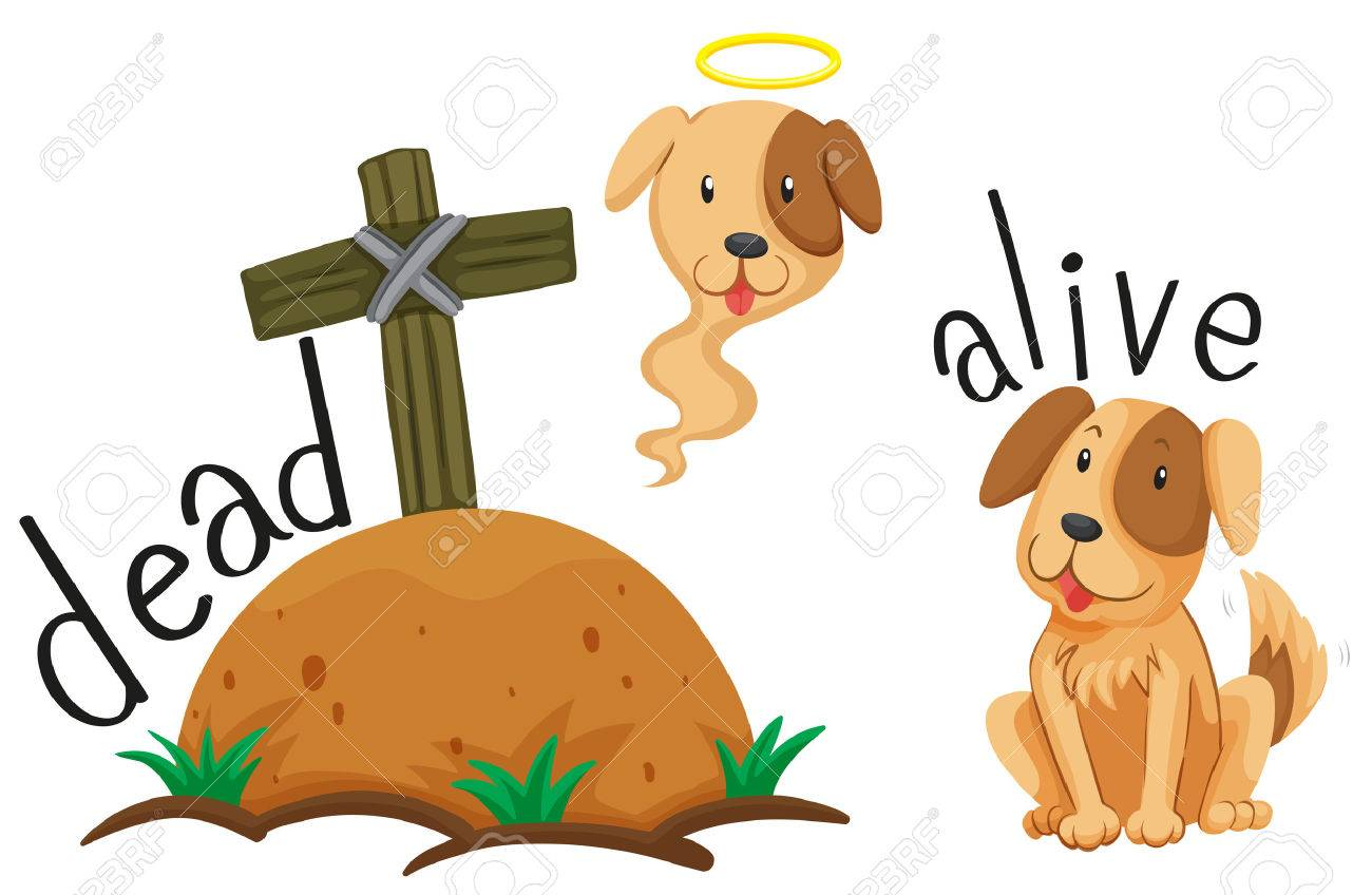 Dead dog under the ground and dog alive illustration.