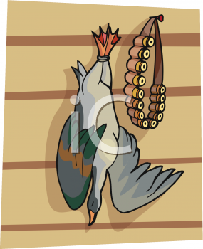 Clipart Image of a Duck Hanging Next to Shotgun Shells.