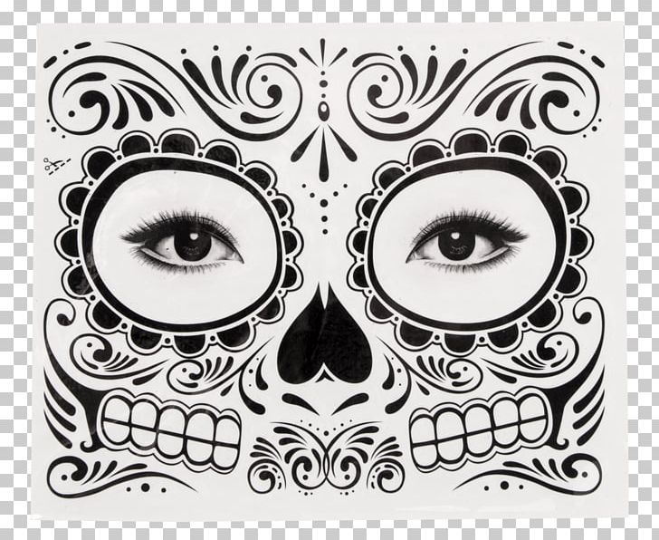 Abziehtattoo Day Of The Dead Calavera Face PNG, Clipart.