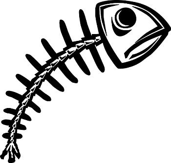Dead Fish Skelton Cartoon.