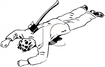 Royalty Free Clipart Image of a Dead Guy With an Ax in the Back.