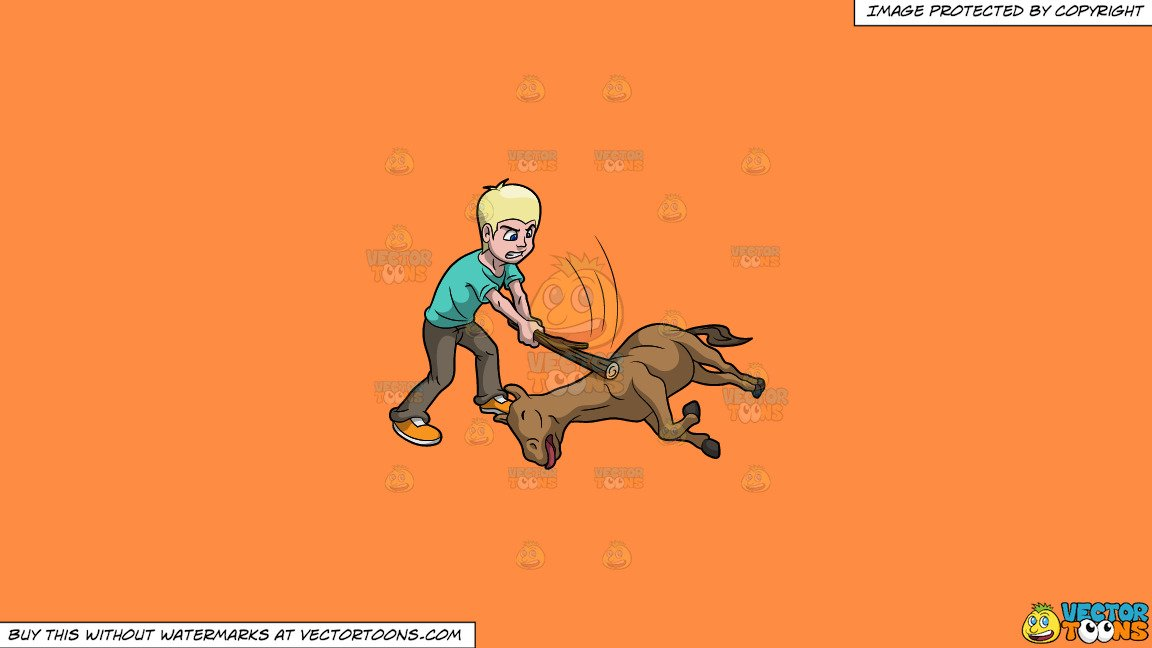 Clipart: Beat A Dead Horse on a Solid Mango Orange Ff8C42 Background.