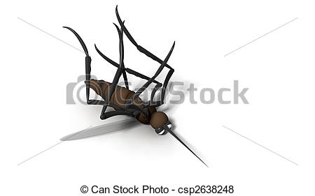 Stock Illustration of 3d dead mosquito on white background.