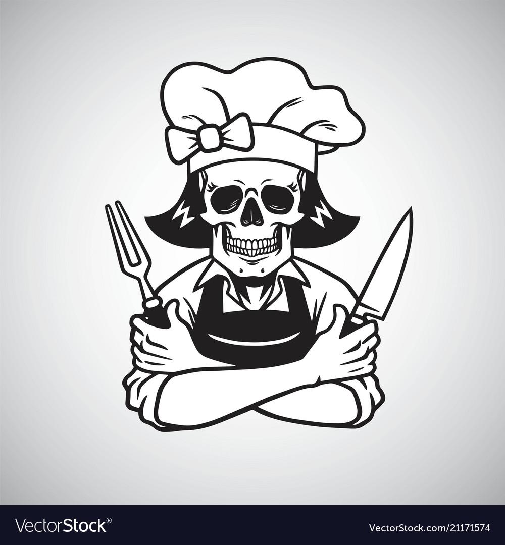 Dead lady skull chef logo grinning fork knife.