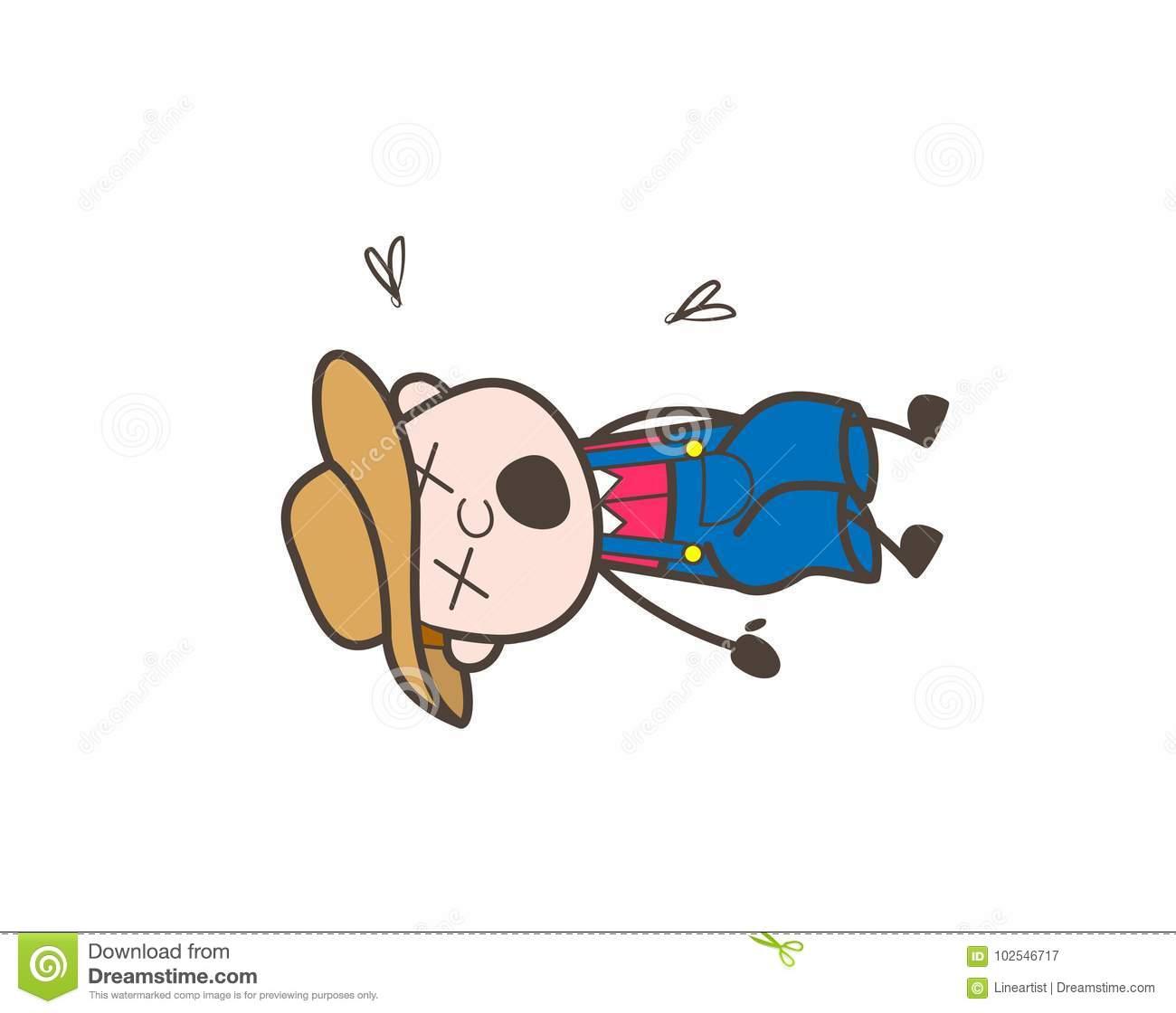 Cartoon Farmer Character Dead Body Vector Illustration Stock.