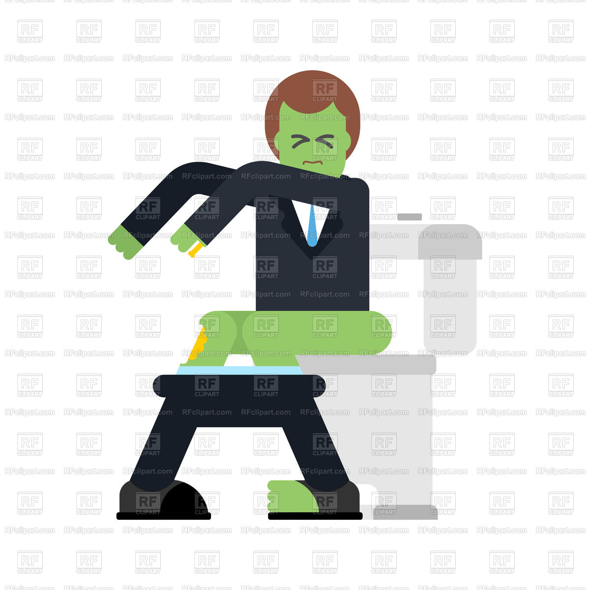 Zombie sits on toilet bowl. Dead man in WC. Stock Vector Image.