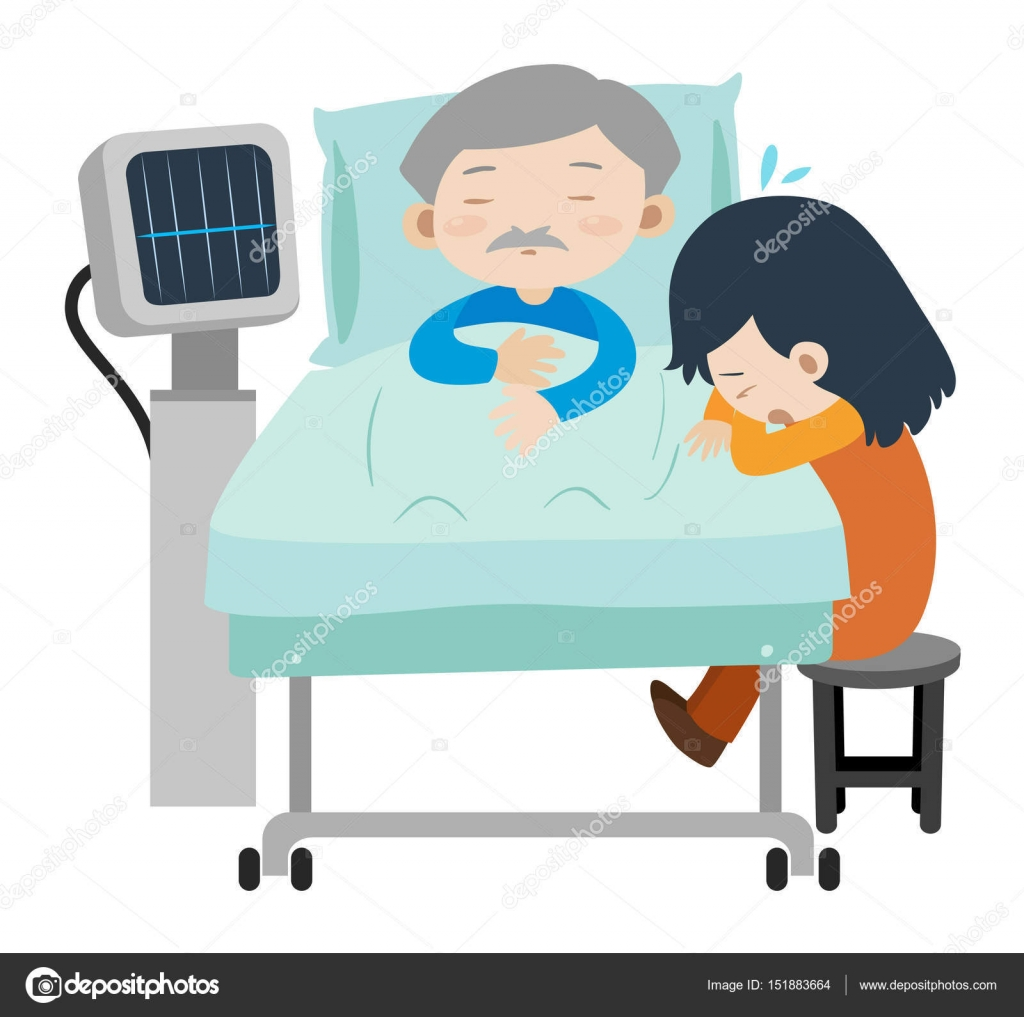 Clipart: girl in hospital bed.