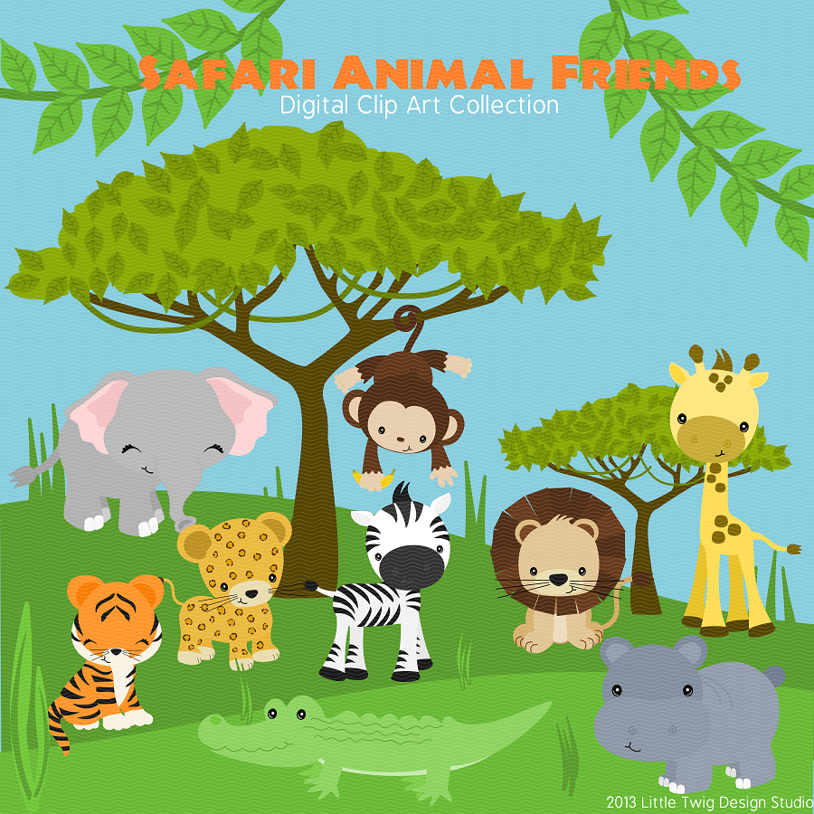 Safari Animal Friends Digital Clipart, clip art collection.
