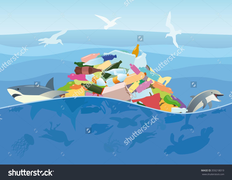 Ecological Disaster Plastic Trash Ocean Dead Stock Vector.