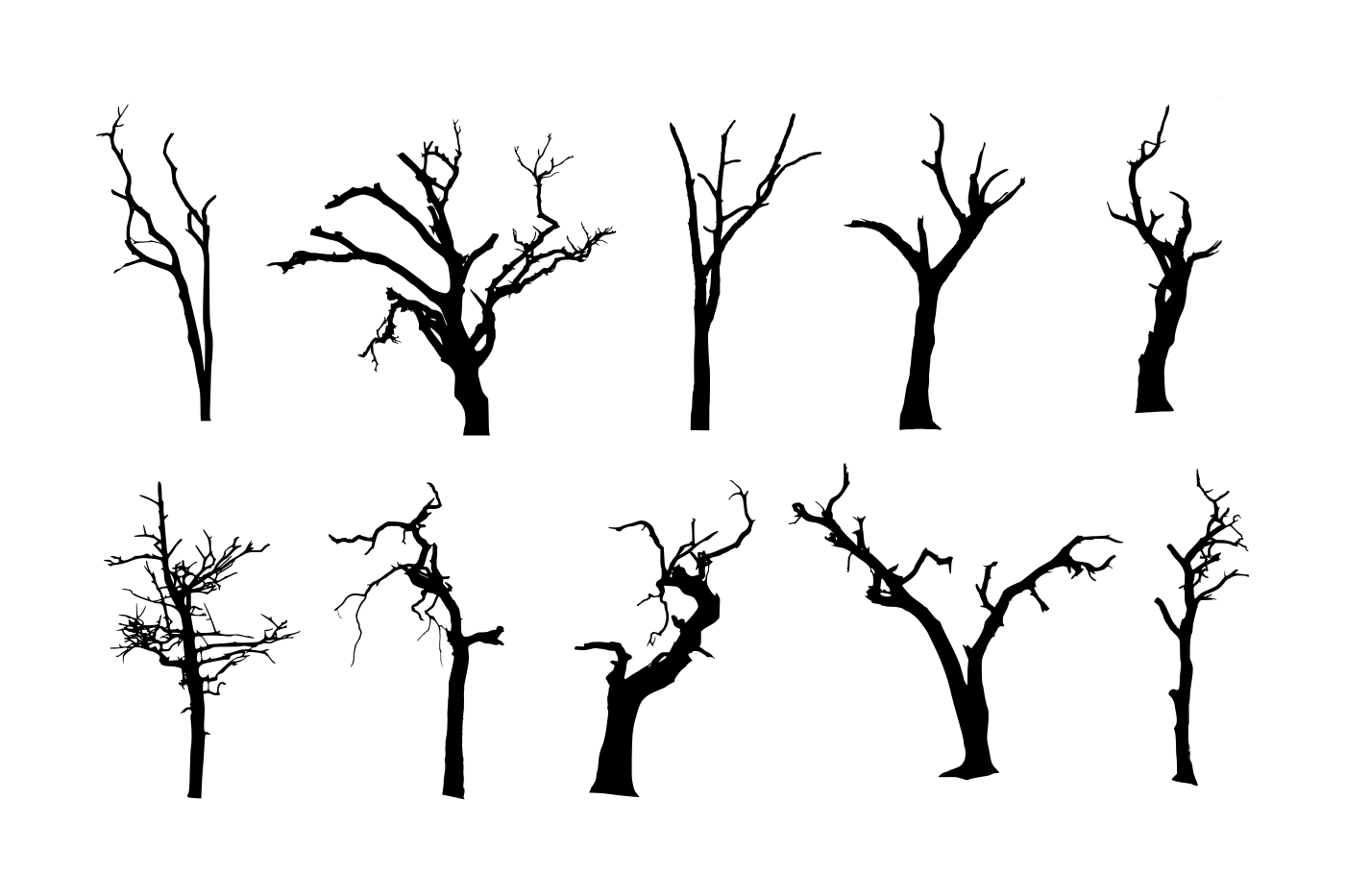 10 Spooky Dead Tree Silhouette (PNG Transparent) Vol. 2.