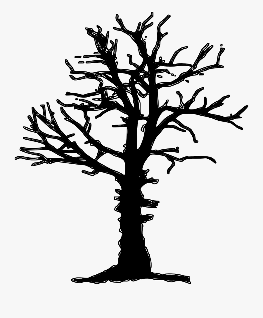 Clipart Of Dead Tree Silhouette Vector Image.
