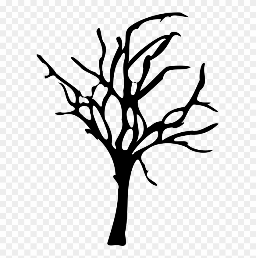 Silhouette Drawing Of Halloween Small Dead Tree.