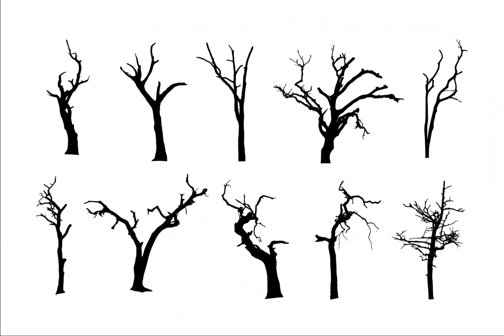 Spooky Dead Tree Silhouette Png Transparent Vol.
