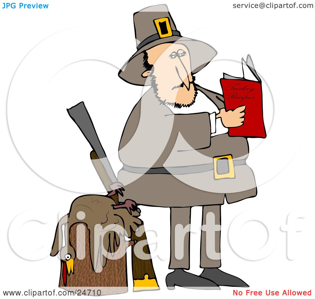 Clipart Illustration of a Male Pilgrim Standing By A Dead Turkey On.