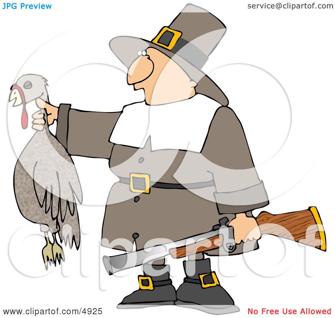 Successful Male Pilgrim Hunter Holding a Dead Turkey and a Gun.