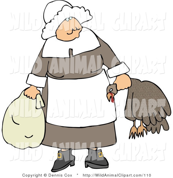 Clip Art of an Elderly Pilgrim Woman Carrying a Dead Turkey by Its.