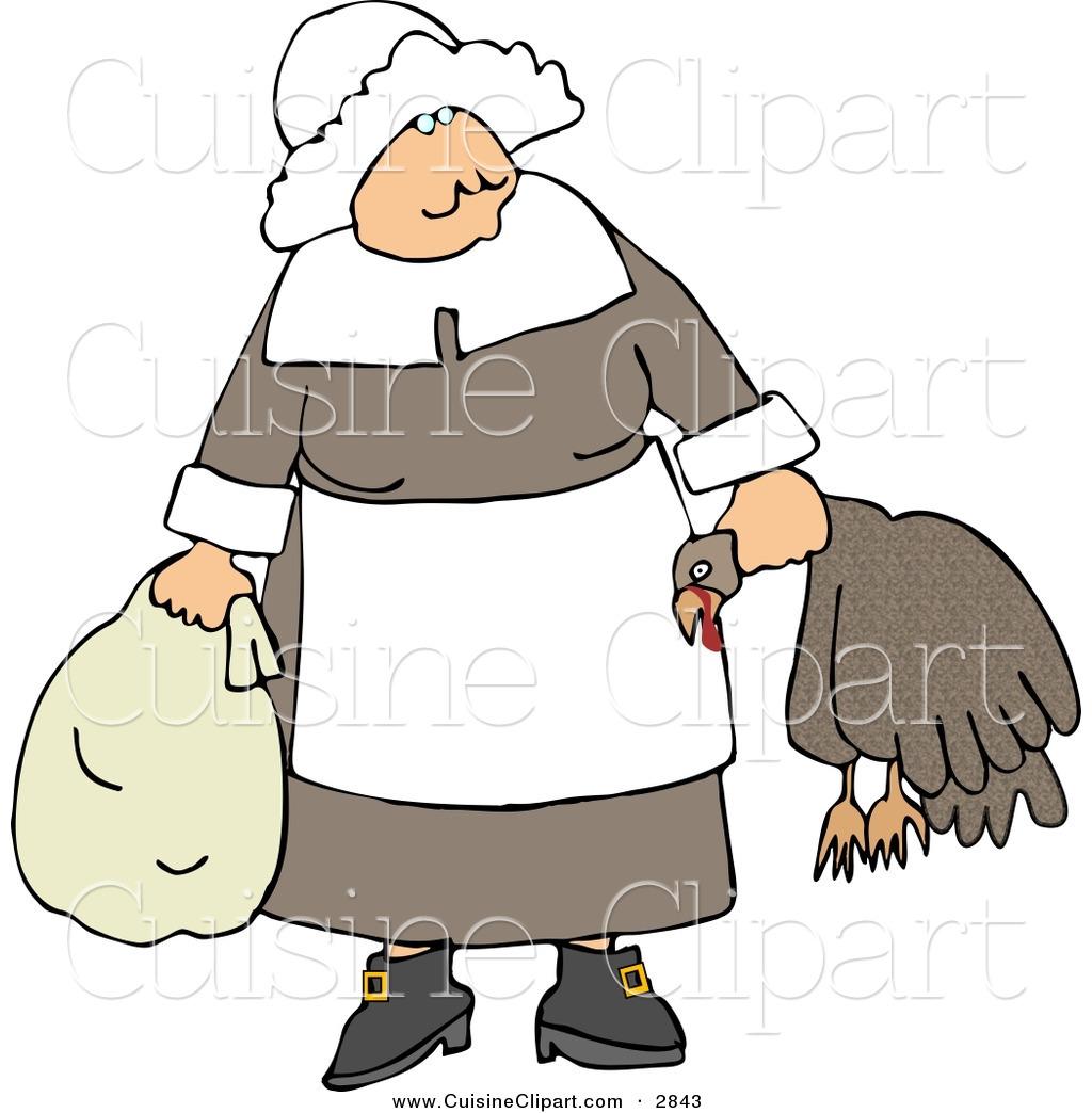 Cuisine Clipart of an Elderly Pilgrim Woman Carrying a Dead Turkey.