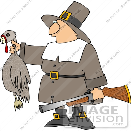 Pilgrim Holding a Dead Turkey and Rifle Clipart.