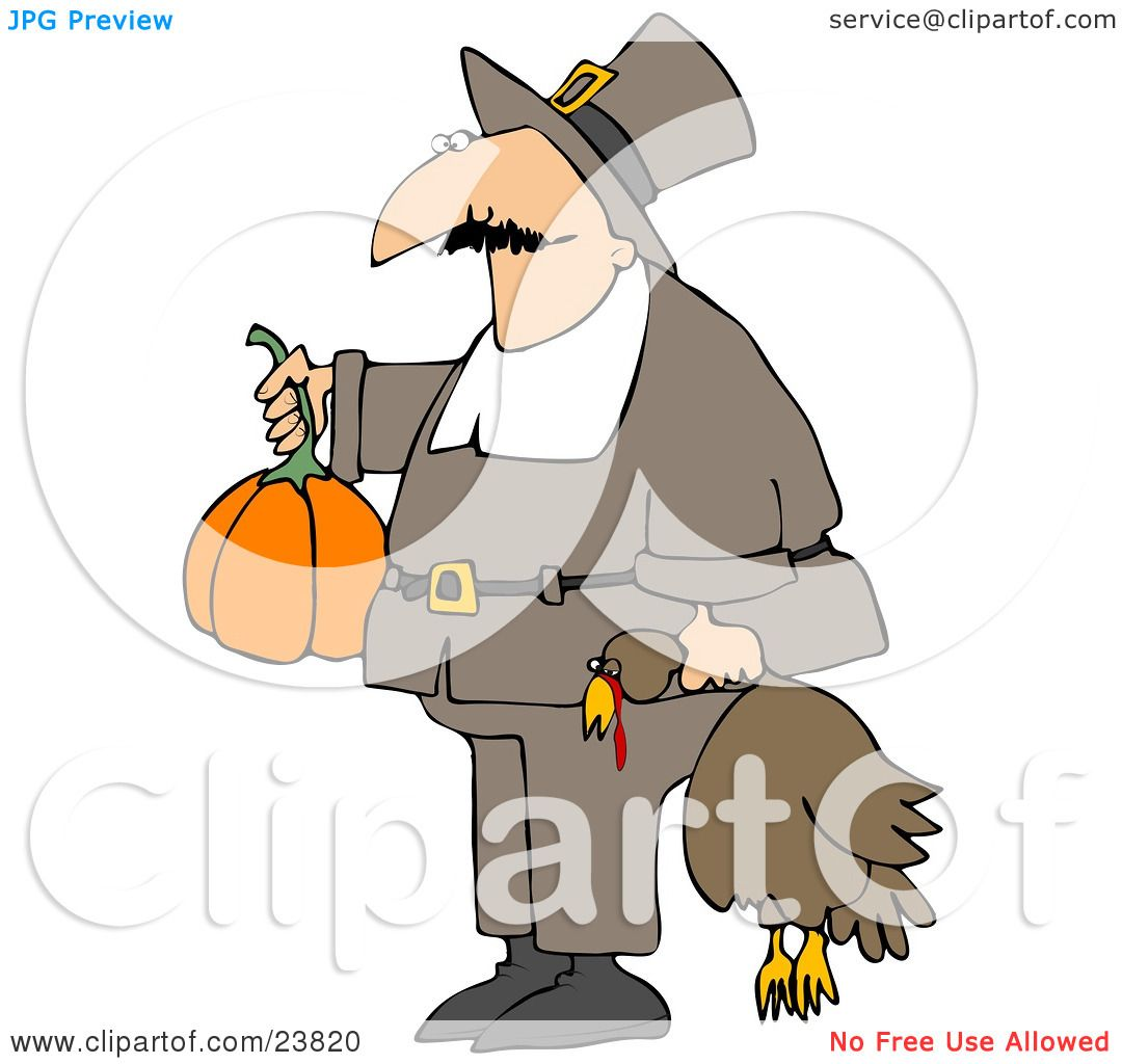Clipart Illustration of a Male Pilgrim In Brown, Carrying A Pumpkin.
