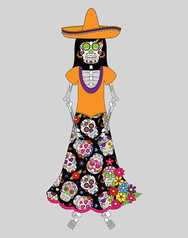 Day of the Dead or Halloween Skeleton Woman Clipart Image.