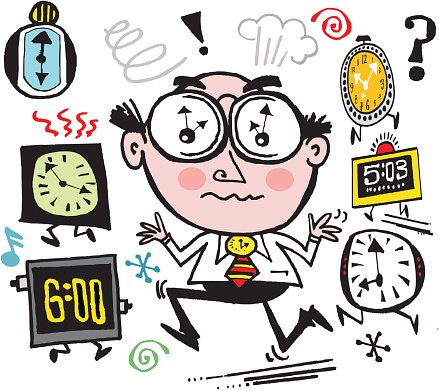 Vector cartoon of busy business executive rushing to meet.