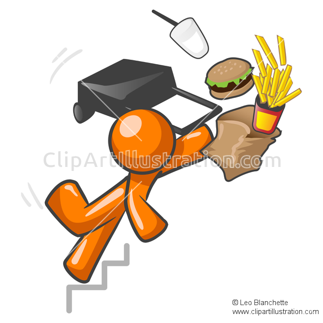 ClipArt Illustration of Orange Man Falling with Style, Fast Food.