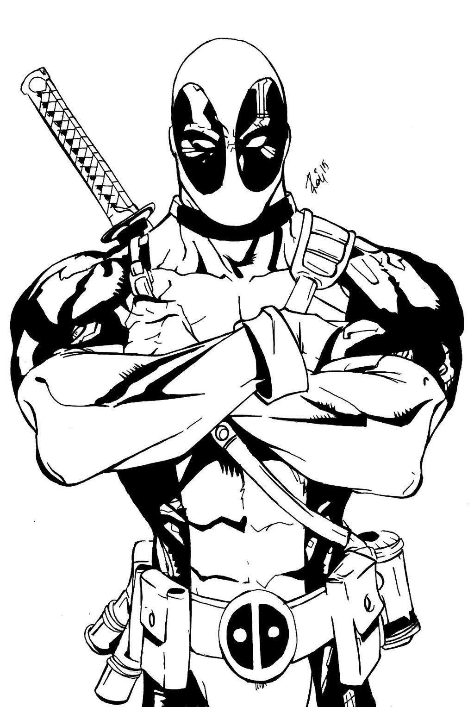 Deadpool clipart black and white, Deadpool black and white.