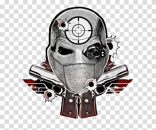 Suicide Squad Deadshot Logo, gray character illustration.