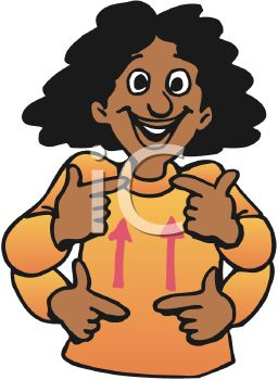 Royalty Free Clipart Image: Cartoon of an Ethnic Deaf Girl Signing.