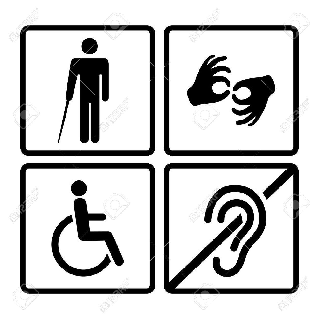 Vector disabled signs with deaf, dumb,mute, blind, wheelchair...