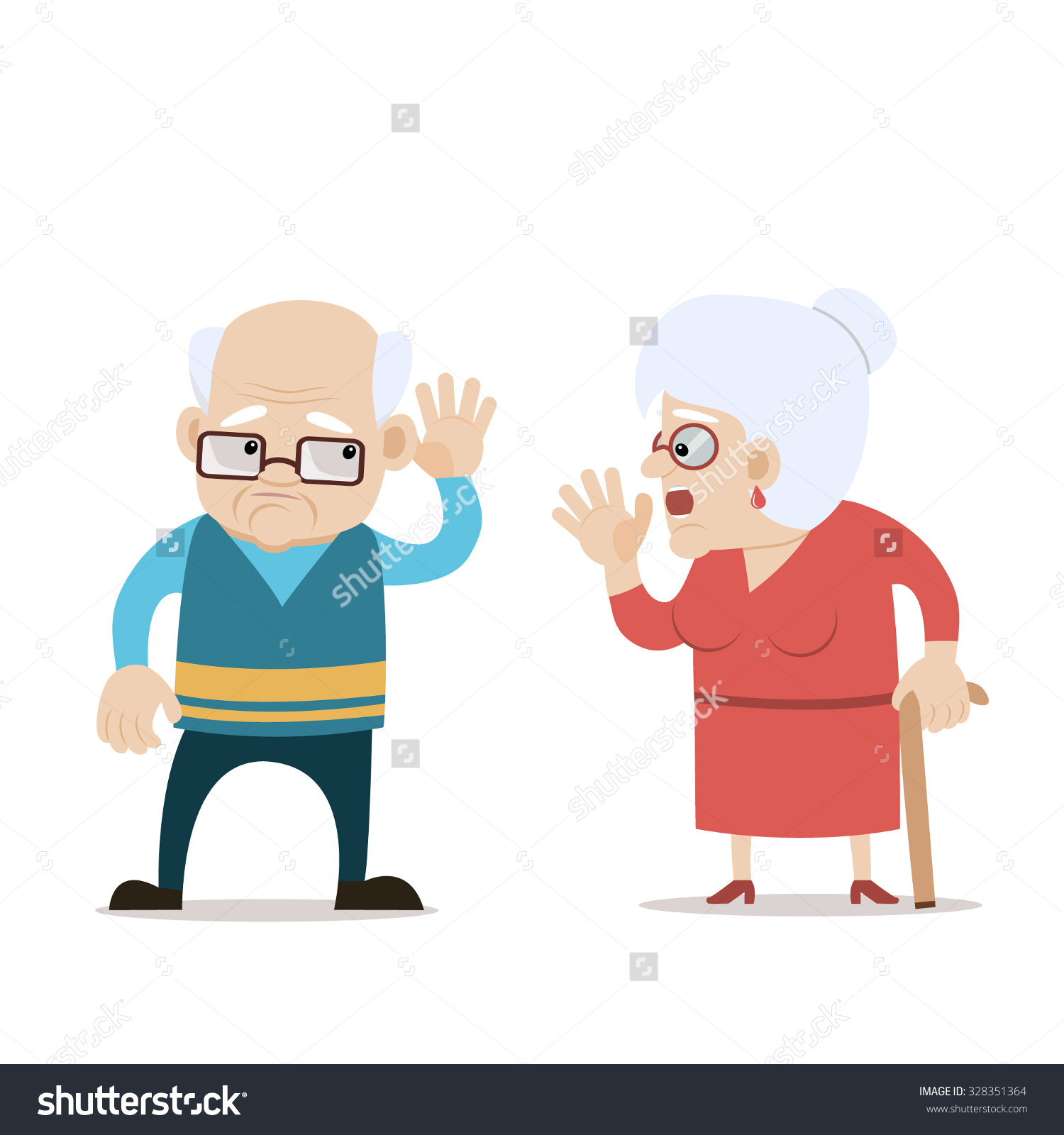 Old man hard of hearing clipart.