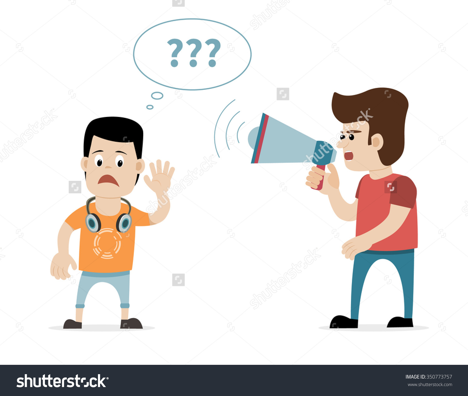 Man Shouting Megaphone Hearing Impaired Young Stock Vector.