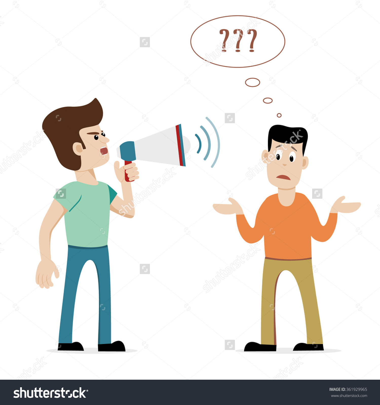 Man Megaphone Shouting Hearing Impaired Shrugging Stock Vector.