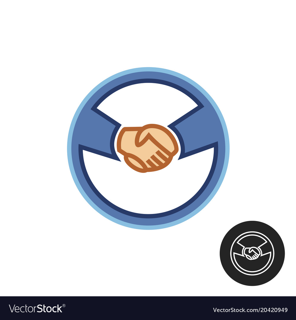 Hands with car steering wheel car deal logo.
