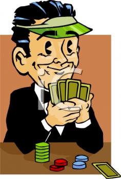 Royalty Free Clip Art Image: Dealer Playing Poker.