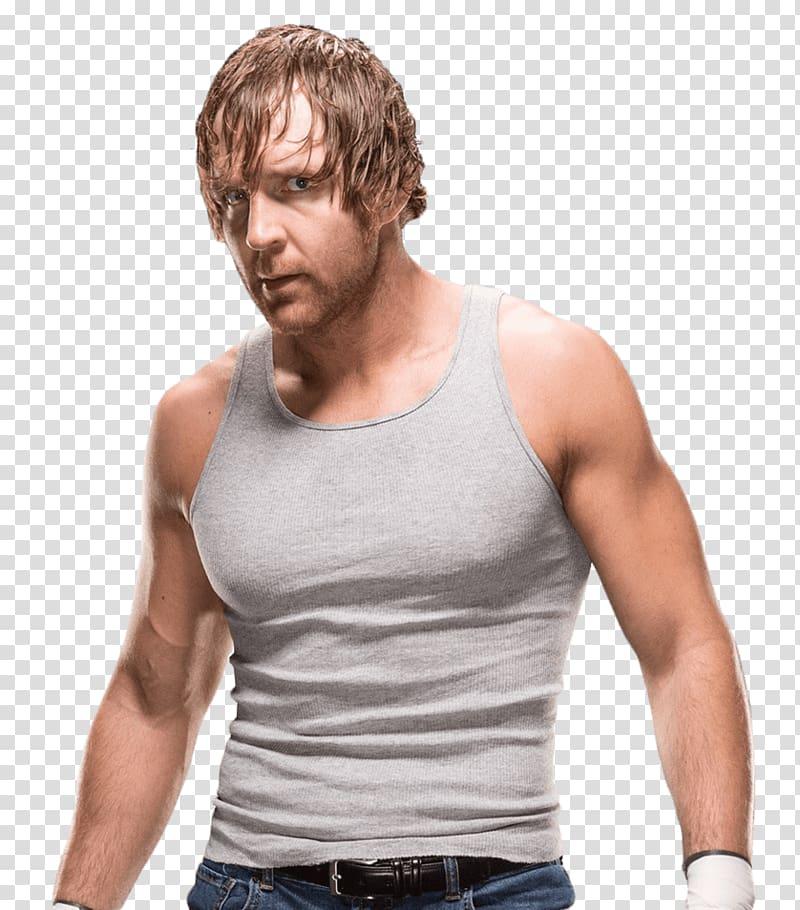 Man wearing gray tank top, Dean Ambrose Side View.