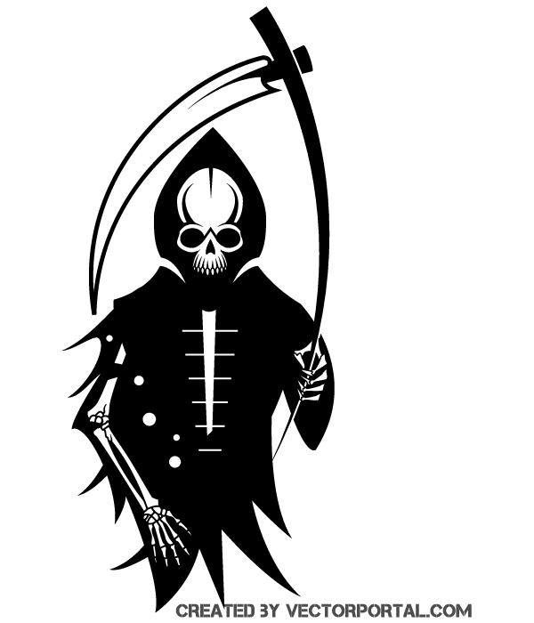 Death Skeleton with Scythe Vector Clipart.