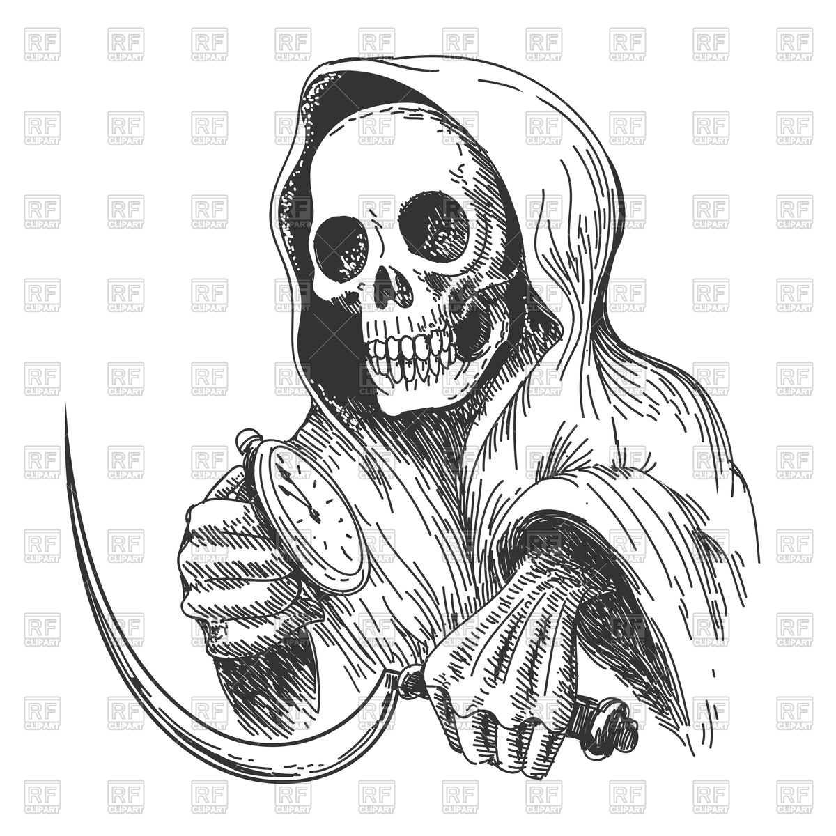 Death with sickle and pocket watch, Ink drawing style Stock Vector Image.